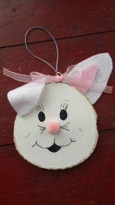 Easter Bunny Wood Slice by MyRusticHeart on Etsy