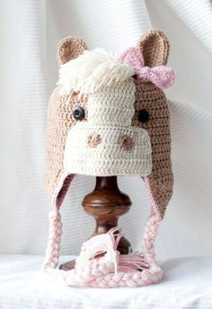 Crocheted Horse Hat.