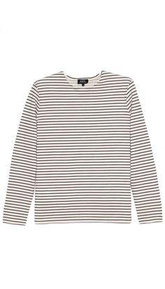 A.P.C. Mariniere Stripe Long Sleeve Tee. #fashion #men #tee