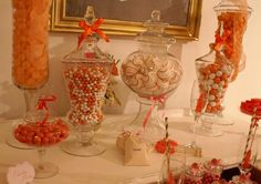 Candy Party Table #candy #orange
