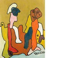 Gaston CHAISSAC (1910 - 1964) DEUX PERSONNAGES - 1961 Huile sur papier marouflé sur toile