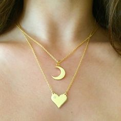 14k Gold Vermeil Crescent Moon and Heart w/ Topaz Accent! Available on LiliKleinJewelry.com #LiliKlein