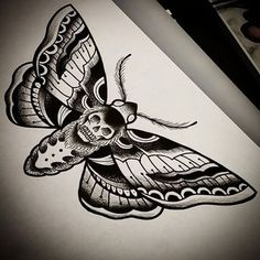 Traditional black dead head moth tattoo design