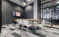 Bolon plank flooring in the office of WeWork in Boston, USA.