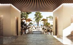Hard to see, but at the corners of the floor are decorative pools of water. The water runs off the edge and creates a waterfall effect which can be seen from the patio below. Arch Hotel, Hotel Lobby, Puerto Rico, Caribbean Real Estate, Best Places To Vacation, Beautiful Beaches, Pergola, Outdoor Structures, Patio