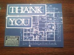 Architectural themed thank-you card - outside Graduation Cap Decoration, Graduation Cards, Graduation Invitations, College Graduation, Event Themes, Party Themes, Party Ideas, Retirement Parties, Grad Parties