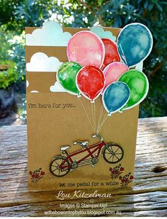 with JAI Pedal Pushers, Stampin' Up! Balloon Release, Celebration Balloons, Bicycle Cards, Diy And Crafts, Paper Crafts, Petal Pushers, Balloon Animals, Stamping Up Cards, Balloon Bouquet