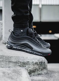 Nike Air Max 97 Metallic Hematite - Nothing but soles Air Max 97, Nike Air Max, Sneakers Mode, Sneakers Fashion, All Black Sneakers, Fashion Shoes, Mens Fashion, Basket Style, Nike Run