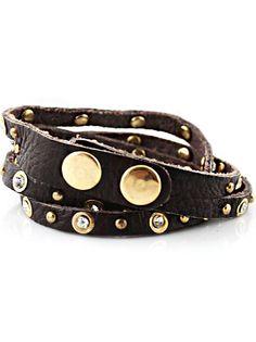 Black Rivet Crystal Leather Bracelet