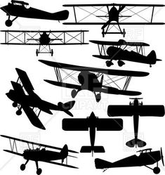 Silhouettes of old aeroplane - contours of biplanes, #biplane #aircraft #airplane #plane #rfclipart #vector #propeller-driven