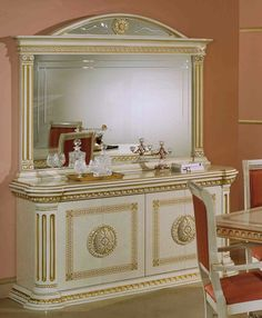Rossella Italian Classic Beige And Gold Buffet