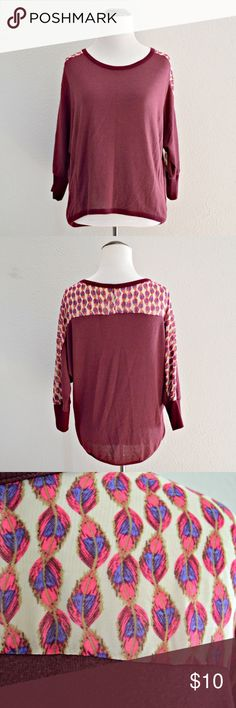 """Feather Printed Top Purple 3/4 sleeve top with sheer feather printed detailing on the sleeves and back by Mossimo Supply Co. Longer in the back than the front. In excellent condition!  