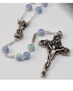 Italian Glass Rosary wSilver Plated Chain and Fancy Icon /& Crucifix Set of 10