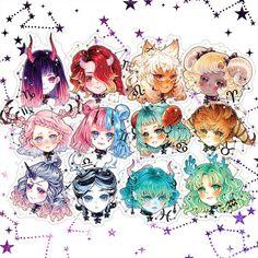 Horoskop art anime zodiac, zodiac art ve cute drawings Zodiac Signs Astrology, Zodiac Star Signs, Virgo Horoscope, Sagittarius Scorpio, Astrology Numerology, Numerology Chart, Anime Zodiac, Zodiac Art, Kawaii Drawings