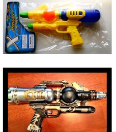 This is a blaster I made using a toy squirt gun. Black spray paint, rub n' buff (silver and antique gold). I also added a few small pieces to it.
