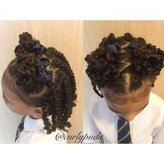 What would of been today's Hairstyle but she said I'd made her look silly and asked me to take it out 🙄😏 #notreadyforthisteenagelife... So if you don't think it's silly please comment so I can show her later 😂😎👌🏼 Two Strand Twists with Two Mini Bunches  Products used - @curlykidshaircare Creme Conditioner on freshly washed hair followed by Gel Moisturiser to Twist 💛 #curlykidshaircare #curlykids #curlygirl #mykidzcurlz #kidzwithcurlz #naturalhair #naturalhairkids #naturalista…