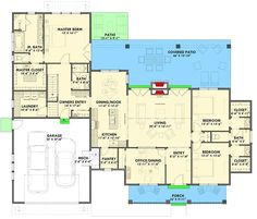 3-Bed Modern Farmhouse with Private Master Suite - 64456SC floor plan - Main Level