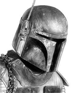 Boba Fett (Star Wars) by on DeviantArt Star Wars Drawings, Marvel Drawings, Cool Car Drawings, Realistic Drawings, Star Wars Film, Star Wars Art, Desenho Do Star Wars, Star Wars Helmet, Star Wars Personajes