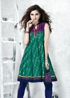 Green Colored Cotton Flair (Anarkali) Top with Blue Colored Border. http://www.shreedevitextile.com/women/kurti/shreedevi-kurti/shree-devi/green-colored-cotton-top--7204