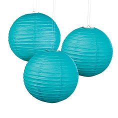 Turquoise Paper Lanterns - Wish they were peacock blue, though. OrientalTrading.com