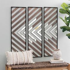 Chevron Wood Plank Mirror Wall Plaques, Set of 3 Chevron Wall Art, Chevron Walls, Mirror Wall Tiles, Mirror Decor Living Room, Accent Wall Bedroom, Accent Walls, Plank Walls, Wall Design, Wood