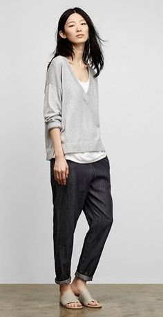 simlpe t-shirt + loose thin v-neck + tapered rolled trousers + broad-strap sandals