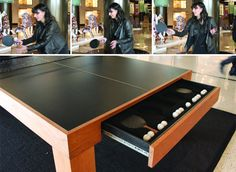 Ping pong table with storage drawer Outdoor Table Tennis Table, Outdoor Tables, Table Storage, Storage Drawers, Project Ideas, Diy Projects, Ping Pong Table, Basement Remodeling, Game Room