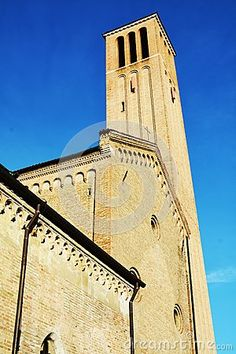 Old church in Treviso, Veneto Region, Italy on a beautiful clear blue background. Blue Backgrounds, Tower, Italy, Stock Photos, Beautiful, Rook, Italia, Computer Case, Building