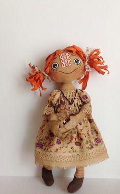 Primitive art  doll-Cloth art doll-Art doll-Ginger cloth doll-Textile dolls-Trending gift-Stuffed doll-Soft doll-Rag doll-Redhead doll by NatashaArtDolls on Etsy https://www.etsy.com/listing/191848135/primitive-art-doll-cloth-art-doll-art