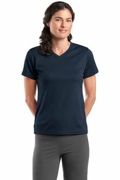$37.64 awesome Sport Tek Dri Mesh Women's V-Neck T-Shirt, XXXX-Large, Navy
