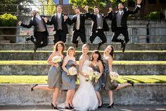 Gray bridal party, awesomely fun shot at The Foundry at Oswego Pointe. #urbanphotography
