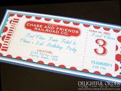 Custom - Train Birthday Party - Invitation - JPEG Printable File. $15.00, via Etsy.