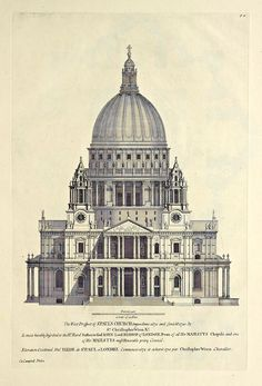 Christopher Wren's elevation for St. Paul's Church, London