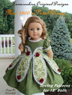 "Printed Pattern for American Girl Marie Grace or Cecile 1850's Petal Gown / Sewing Pattern for 18"" Dolls. $8.95, via Etsy."