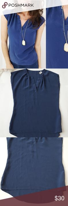 100% silk blue short sleeve top Small-C1 In good condition! Beautiful blue 100% silk top, size small. Brand tag has been removed. Used item: pictures show any signs of wear. Inspected for quality. Bundle up! Offers always welcome:)  Check out my husband's closet: @kirchingeraaron Tops