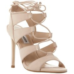 Steve Madden Sandallia Lace Up Stiletto Sandals , Natural Nubuck (1 790 ZAR) ❤ liked on Polyvore featuring shoes, sandals, natural nubuck, high heel shoes, steve-madden shoes, peep toe sandals, stiletto sandals and lace up flat sandals