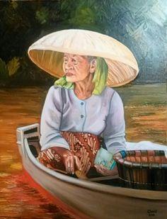 Anciana del Mekong. Oleo sobre lienzo.