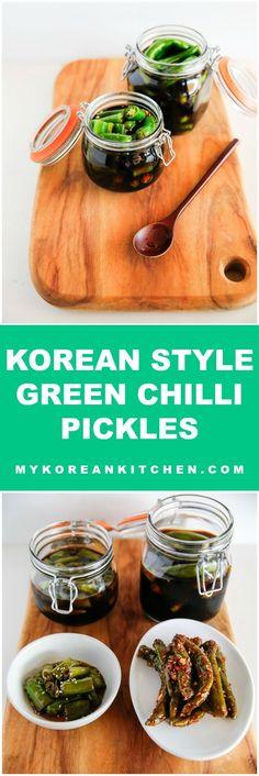Delicious and Addictive Korean Style Green Chilli Pickles | MyKoreanKitchen.com