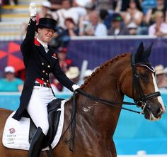 Great Britain's Laura Behctolsheimer in tears as she completes her Grand Prix Freestyle on Mistral Hojris at the London Olympics. © 2012 Ken Braddick/dressage-news.com