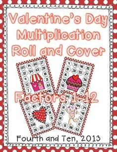 Multiplication Roll and Cover {Valentine's Day Themed} Uses 12 sided dice! $ paid product