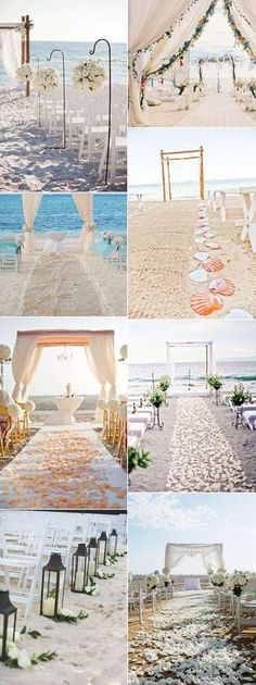 Check out these elegant and romantic beach wedding aisle decorations for ceremony ideas