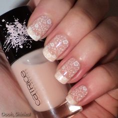 3-step French Mani 1. White tips 2. Shear color 3. White Stamped Floral Pattern