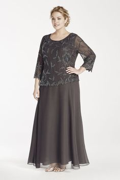 This dazzling mock two piece dress is perfect as a Mother of the Bride dress or anyone looking for a modest formal dress! Long two piece chiffon dress with round neckline features long sleeve top wit Vestidos Mob, Vestidos Plus Size, Plus Size Dresses, Plus Size Outfits, Modest Formal Dresses, Mob Dresses, Trendy Dresses, Bridesmaid Dresses, Peplum Dresses