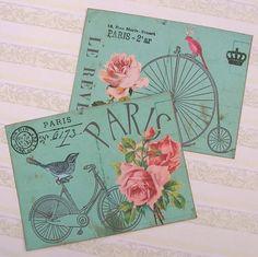 Notecards Flat Paris Bicycle Crown Bird Large by EnchantedQuilling, $11.00