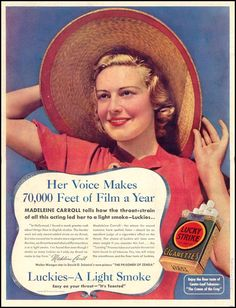LUCKY STRIKE CIGARETTES. HER VOICE MAKES 70,000 FEET OF FILM A YEAR. Date: 08/30/1937