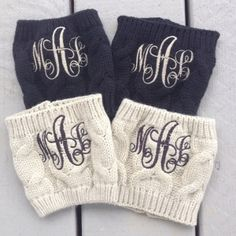 NEED THESE IN WHITE!!! INTERTWINED FONT Monogrammed Boot Cuff