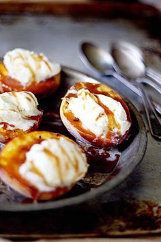 Grilled Vanilla Bean Marscapone Peaches with Salted Bourbon Caramel.