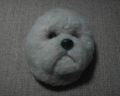 Bichon Frise Dog Magnet Fur Head Realistic Resin 3D