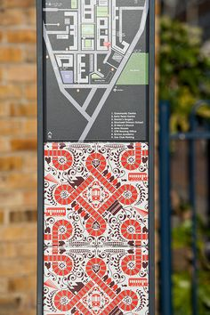 Design studio hat-trick worked with local artists to create a wayfinding system based on patterned tiles for the Stockwell Park Estate in Lambeth, south London Storefront Signage, Park Signage, Directional Signage, Wayfinding Signs, Signage Display, Signage Design, Pylon Signage, Environmental Graphic Design, Environmental Graphics