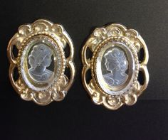 Vintage Whiting & Davis cameo oval earrings gold by Fleagleeattic ~ETS #vogueteam #etsygifts #whitinganddavis